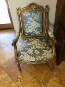 Pair Of Blue And White Floral Print Silk Replica Antique Chairs With Gold Leaf.