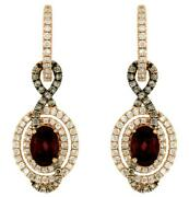 3.02ct White And Mocha Diamond And Aaa Rhodolite 14k Rose Gold Oval Hanging Earrings