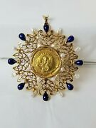 Antique Artisan Style Byzantine Coin With 14k Gold Pearl And Lapis Rotation Frame