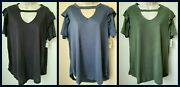 0x Terra And Sky Ruffle Sleeve Key Hole V-neck Hi-low Top Womenand039s Plus Size 14w