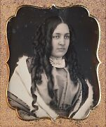 Stunning Young Woman With Very Long Curled Hair 1/6 Plate Daguerreotype F279