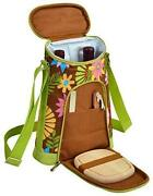 D Wine And Cheese Cooler, Picnic Backpack Bag, For Outdoor Floral