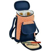 D Wine And Cheese Cooler, Picnic Backpack Bag, For Outdoor Orange