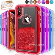 For Iphone X Xr Xs Max Hard Liquid Glitter Shockproof Protective Case Cover