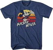 Mickey Mouse Rise Stripes Retro Disney Adult Tee Graphic T-shirt For Men Tshirt