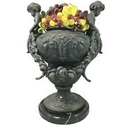 19th / 20th C French Spelter Urn Form Table Lamp With Glass Grapes And Cherubs