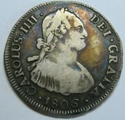 1806 Santiago 4 Real Chile Charles Iv Assayer Fj Colonial Silver Spanish Coin