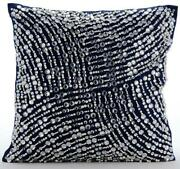 Couch Pillow Cover Decorative Navy Blue 22x22 Taffeta - Crystals N Pearls Jam