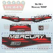 1996-98+ Mercury 90hp Decal Outboard Reproduction 3 Piece Marine Vinyl 1997