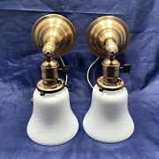 Pair Of Early Electrical Antique Brass Sconces Patina White Shades Hubbell 59d