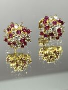 14k Yellow Gold Ruby And Diamond Cluster Vintage Earrings 1.50ctw 3.8 Gram Stud