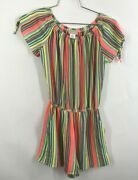 Love...ady Womens Short Sleeve Fit And Flare Dress Pink Bright Colorful Striped S