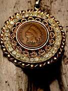 """113 Year Old 1907 Indian Head Penny Coin In Rhinestone Bezel W/24"""" Necklace."""