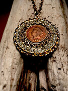 """120 Year Old 1900 Indian Head Penny Coin In Rhinestone Bezel W/24"""" Necklace."""