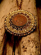 """115 Year Old 1905 Indian Head Penny Coin In Rhinestone Bezel W/24"""" Necklace."""