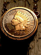 """118 Year Old 1902 Indian Head Penny Coin In Bezel W/24"""" Necklace."""