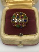 18k Yellow Gold Lotus Flower Diamond Sapphire And Ruby Ring 10.3 Grams Size 7
