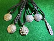Lot Of 6 - Western Style Pendants W/leather Cord Necklace