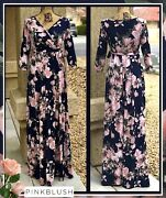 Pinkblush Women's Navy Floral Size Small Maternity Wrap Maxi Dress 66 New