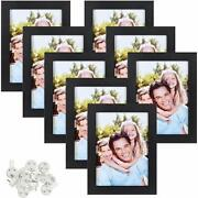 Sindcom 4x6 Picture Frame, Black Wood Textured Photo Frames Collage, With Mat An
