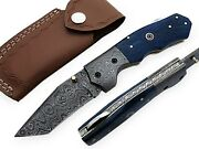 Damascus Steel Handmade Folding Knife Wood Handle With Leather Cover