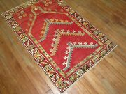 Antique Turkish Melas Oushak Prayer Rug Size 3and039x4and0397and039and039