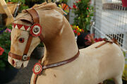 Antique Steiff Horse Wood With Genuine Leather On Wheels Hand Made
