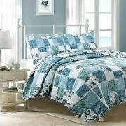 Cozy Line Home Fashions Calypso Real Patchwork Quilt Bedding Set 3d White Lace