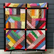 Handmade Embroidered Crazy Quilt Vintage Fabrics - Twin Xl - Amazing Details