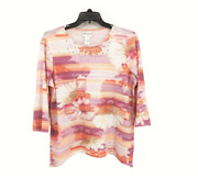 Alfred Dunner Los Cabos 2018 3/4 Sleeve Top Sz Large New