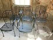 Vintage 6 Woodard French Country Wrought Iron Chairs
