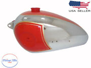 Bsa B31 B33 Plunger Model Red Painted Chrome Petrol Fuel Tank -comaptible For