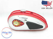 Bsa C15 Red Painted Chrome Fuel Petrol Tank + Cap+ Badge+ Knee Pad+ Tap  fit For