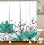 Blue Floral Sketch Farmhouse Water-repellent Fabric Shower Curtain + Hooks