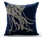 Pillowcase Cover Luxury 16x16 Inch Navy Blue Linen - Jelly Fish At The Shore