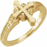 New Ladies 14k Yellow Or White Gold Ornate Cross Religious Christian Band Ring