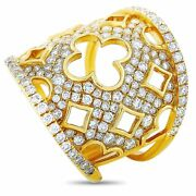18k Yellow Gold 1.68 Ct Diamond Clover Cutout Wide Band Ring