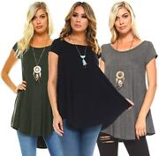 Isaac Liev Womenand039s 3-pack Flowy Short Sleeve Tunic Top - Made In The Usa