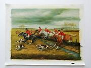 Oil Painting Hunting Fox Hand Painted On Canvas Signed Pos-no. 109-1