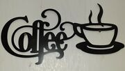 New Coffee Metal Sign With Mug 18 X 9 Wall Decor Textured Kitchen Diner Bistro