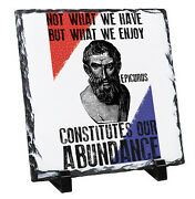 Epicurus Abundance Quote - Rock Slate Photo Gift With Stands High Gloss
