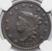1822 1c N-2 Coronet Or Matron Head Large Cent Ngc Xf Details Cleaned