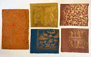 Decorative Papers / Book Arts Small Teaching Collection Of Five 5 Gold-printed