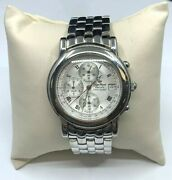 """Lucien Piccard Chronograph Stainless Steel Watch 26499sl Has Scratches 8"""" Wrist"""