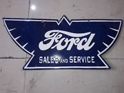 Ford Wings Sales And Service Porcelain Enamel Sign 24 X 11 Inches