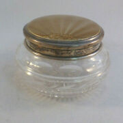 Beautiful Sheffield England Sterling And Guilloche Enameled Top Glass Dresser Jar