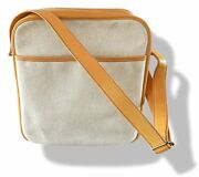 Hermes 97 Natural Canvas And Leather Victoria Crossbody Travel Bag With Dusbag