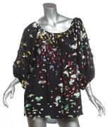 Womens Black Silk Embroidered Multicolor Blouse Top Fr42 Us10 L New 1795