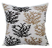 Decorative Brown Pillow 24x24 Inch Silk Coral Sea Weeds - Tropical Corals