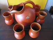 Pacific Art Pottery Set Ball Pitcher 6 Tumbler Drinking Mugs Apache Red 1930's